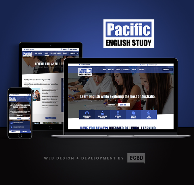 Example responsive website design for a Gold Coast business called Pacific English School