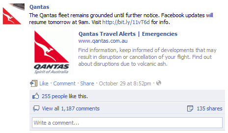 Qantas Facebook Announcement