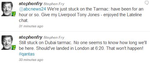 Stephen Fry Stuck in Dubai on Qantas