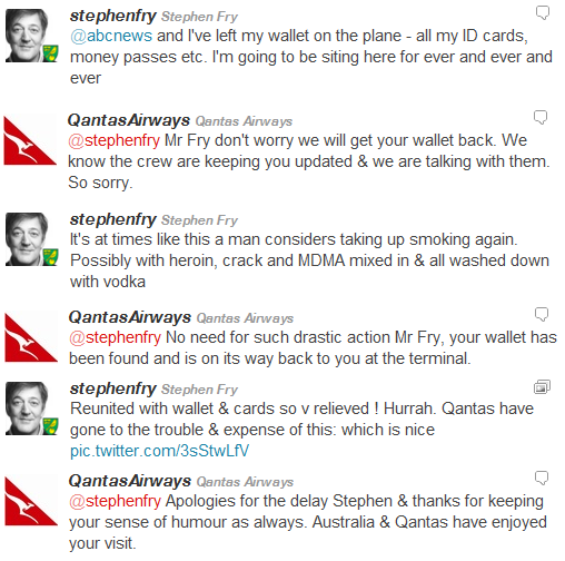 stephen fry's lost wallet on qantas