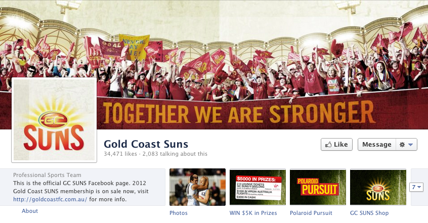 Gold Coast Suns Facebook page