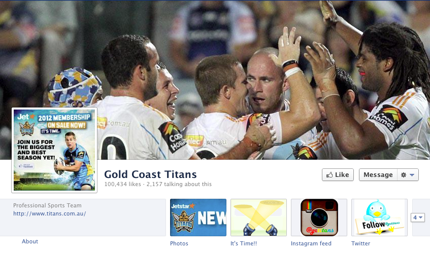 Gold Coast Titans Facebook page
