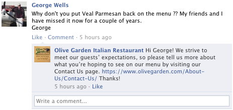 olive garden not being helpful