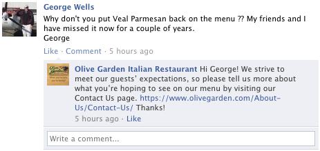 olive garden not being helpful
