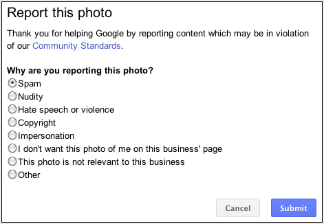 report this photo google local
