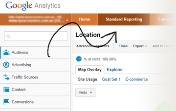 Google Analytics standard reporting tab