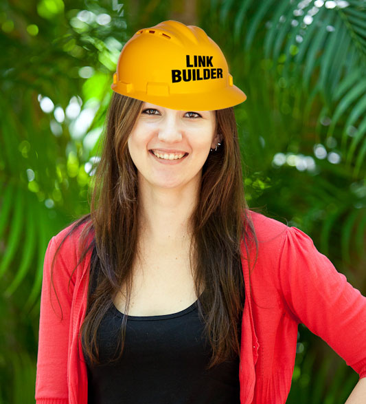 Krissy in a link building hat