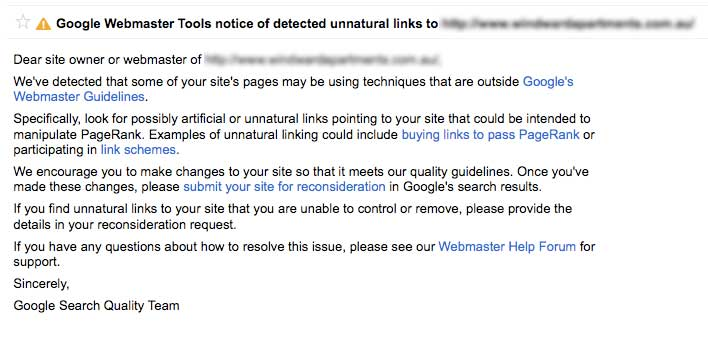 google webmaster tools unnatural link warning