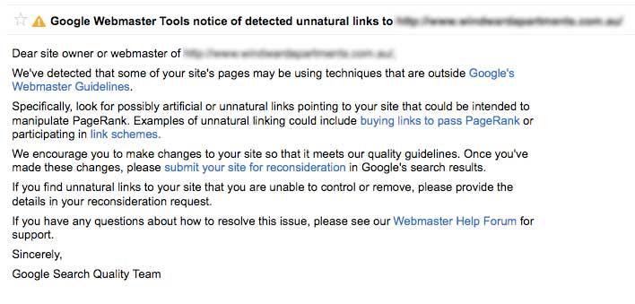 google webmaster tools unnatural link warning