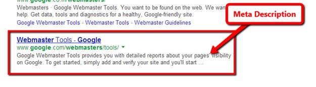meta description as it appears in google search results