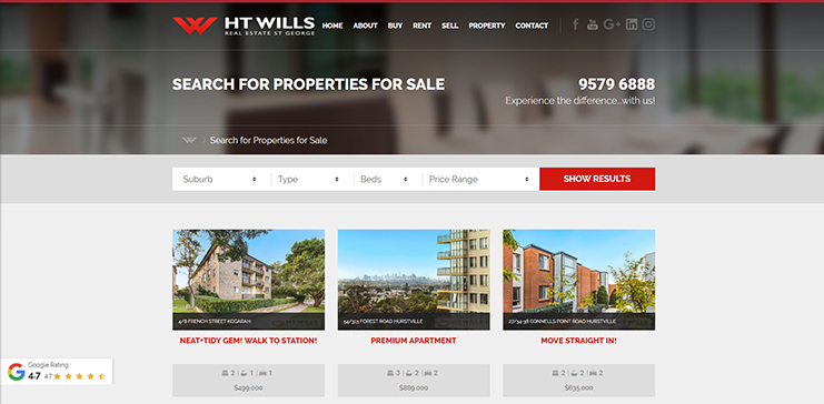 HT Wills Real Estate redesign features a property feed