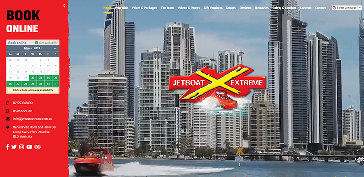 JetBoat Extreme has a booking widget in the left sidebar that is always within easy reach for a potential customer.