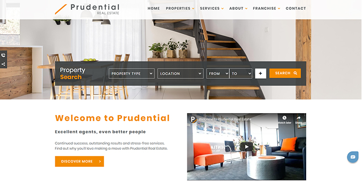 Prudential real estate's redesigned home page
