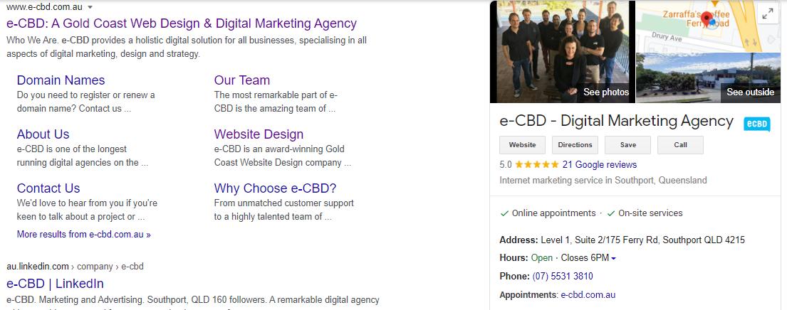 Example Google My Business listing e-CBD