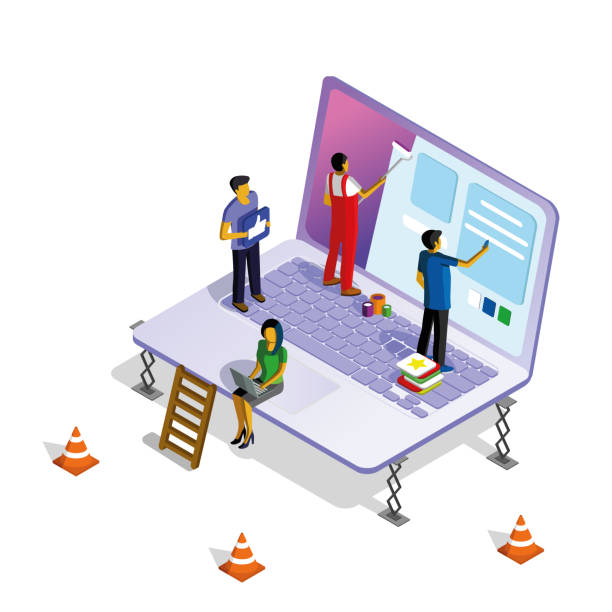 Isometric illustration with a laptop, men and women working on web design.