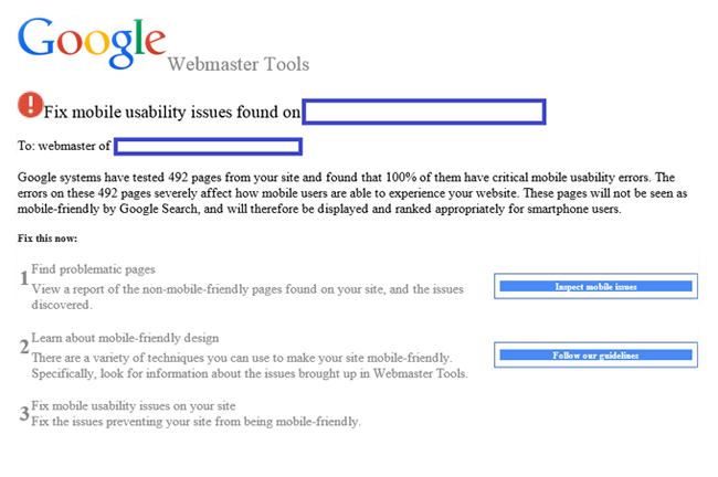 Google Mobile Usability Issues Notification